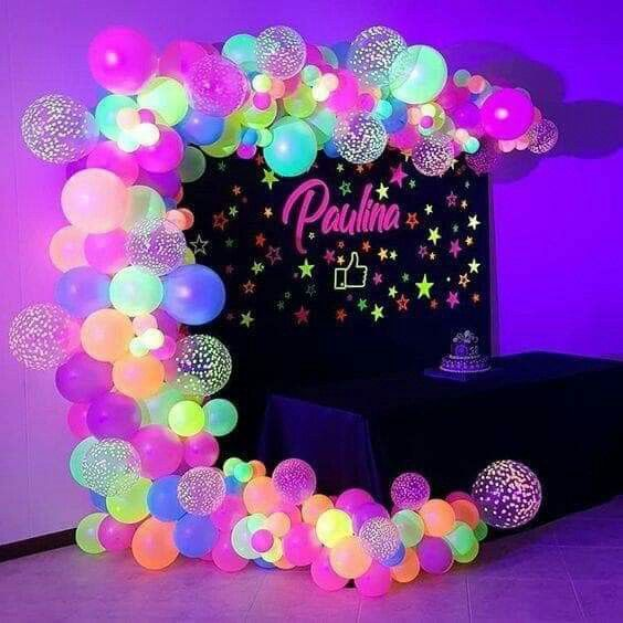Theme Party Neon Party Ideas For The Dessert Table Or Cake My Idea Blog Neon Party Decorations Glow Birthday Party Neon Party