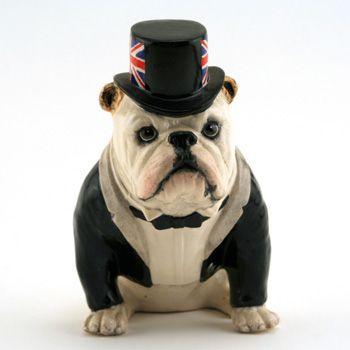 Royal Doulton Dog British Bulldog Da228 White With Black Top Hat