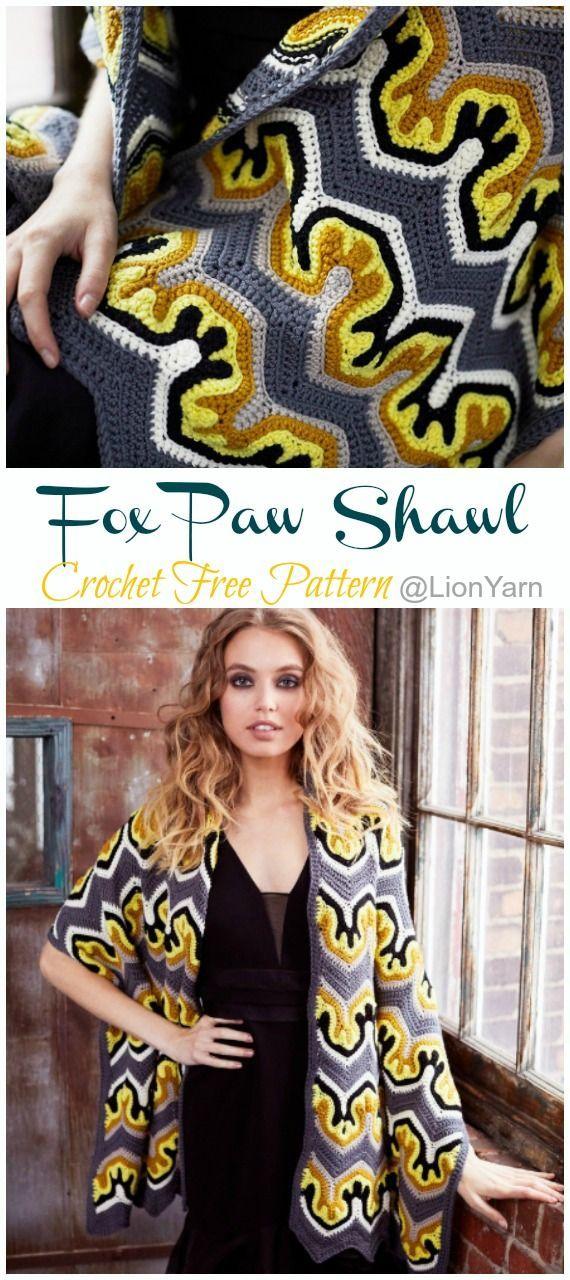 Fox Paw Shawl Crochet Free Pattern - Trendy Women #Shawl; #Crochet gratis; Modelo... - #crochet #Fox #Free #gratis #Modelo #Pattern #Paw #Shawl #Trendy #women #afghans
