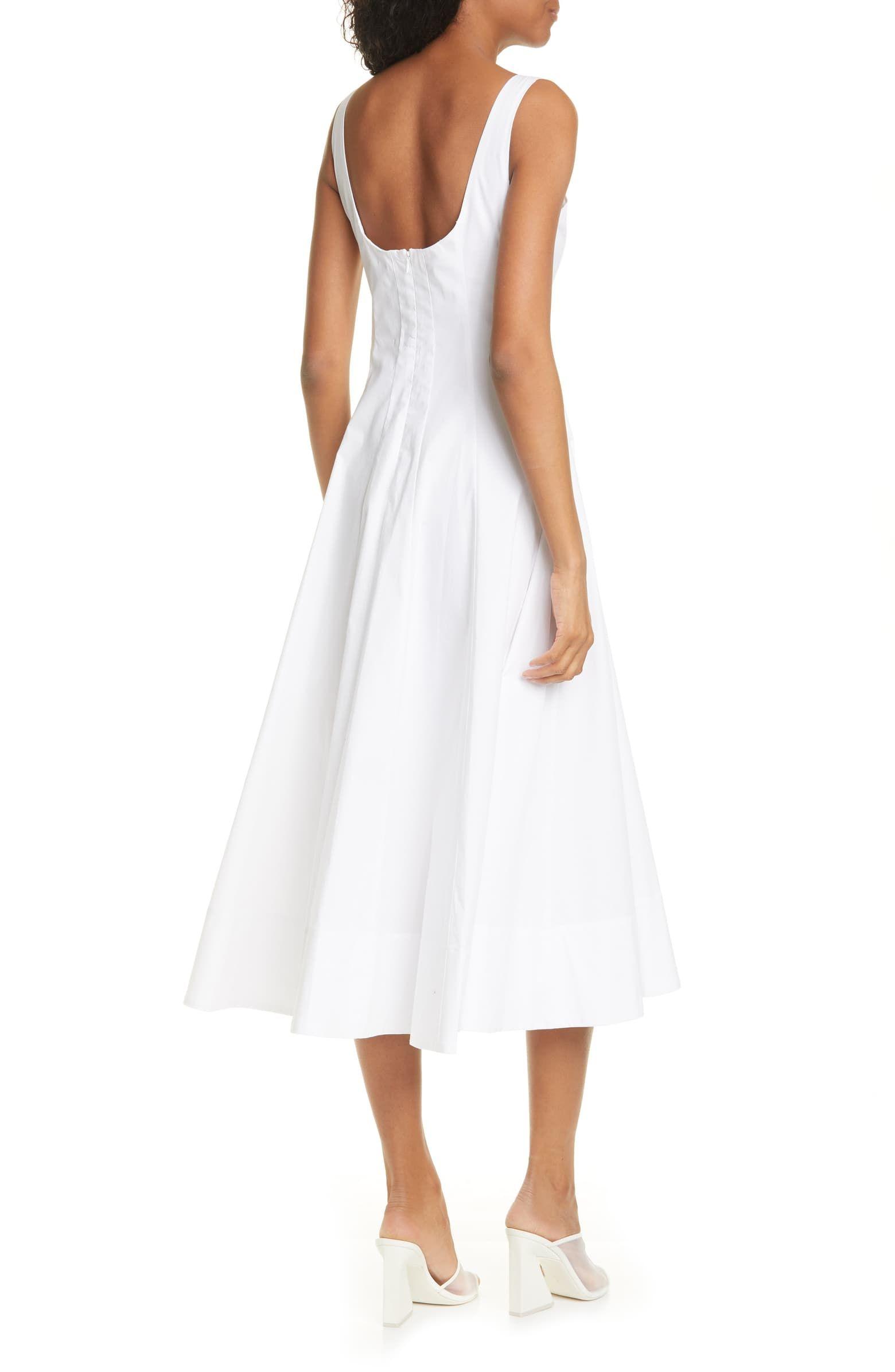 Staud Wells Stretch Cotton Poplin Midi Fit Flare Dress Nordstrom Fit Flare Dress Flare Dress Nordstrom Dresses [ 2392 x 1560 Pixel ]
