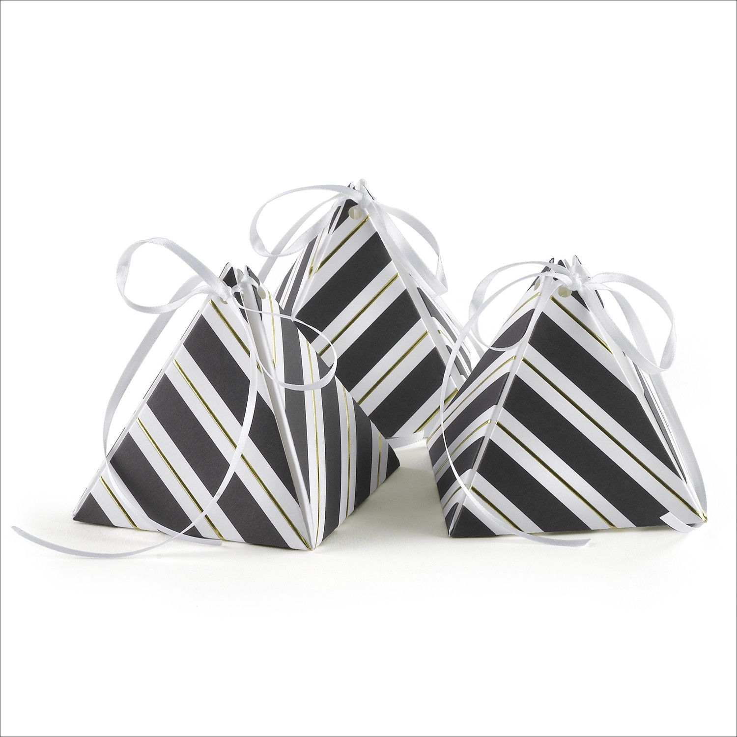 Make a monochromatic statement at your party, wedding, themed events, corporate events, birthday parties and more with the Black and White Striped Pyramid Wedding Party Favor Box. This adorable black