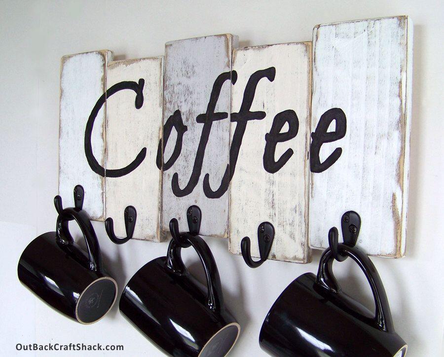 Coffee Mug Holder;  Coffee Mug Rack; Kitchen Decor; Kitchen Organization; Rustic…