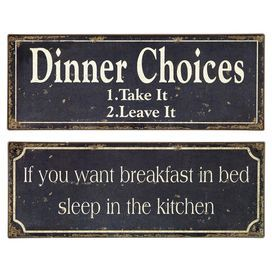 Set Of 2 Typographic Tin Plaques Product 2 Piece Wall D 233 Cor Setconstruction Material Tincolor Distressed Wall Decor Set Dinner Choices Wall Signs