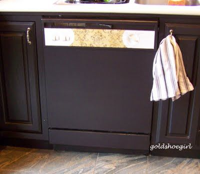 How To Paint Your Dishwasher I Absolutely Love This Idea Keeps A Sleek Look To Your Kitchen Cabinets Black Dishwasher Dishwasher White Cheap Remodel