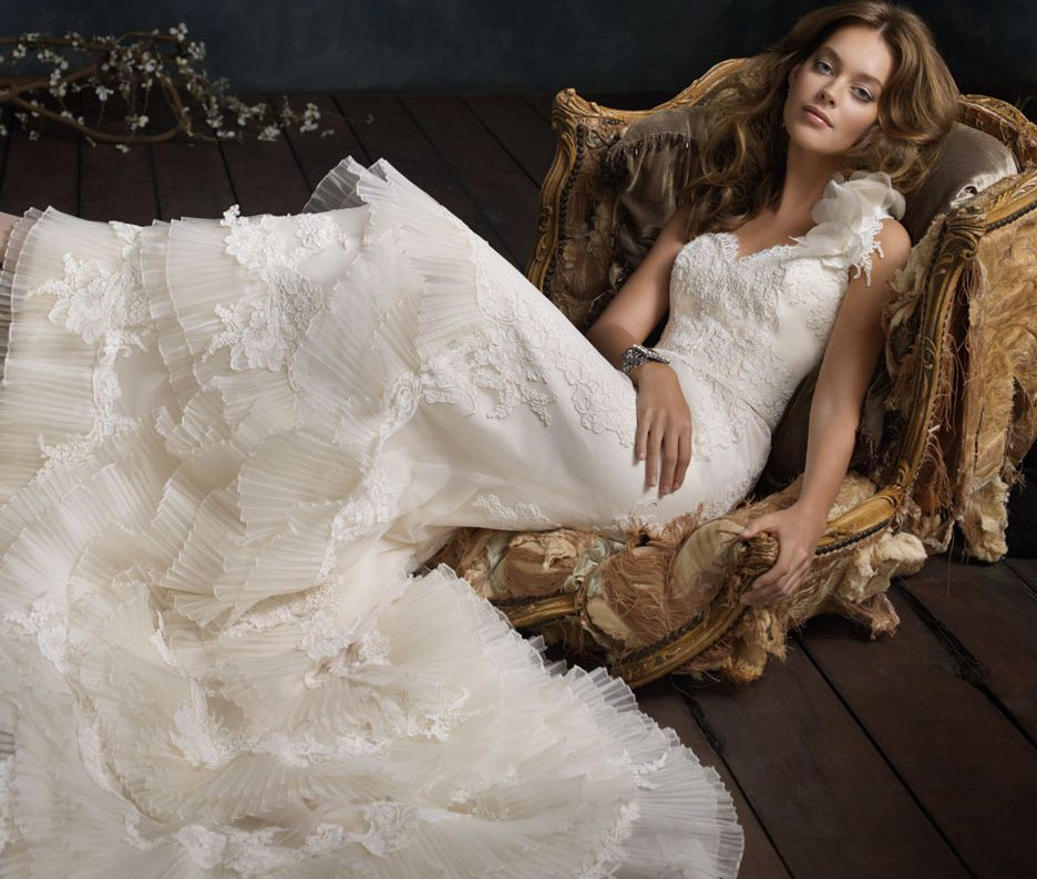 Pleated Tiered Wedding Gown By Lazaro