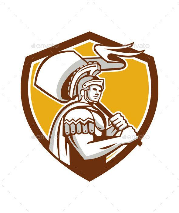 Roman Centurion Carry Flag Crest Retro Retro Illustration Roman Centurion Retro
