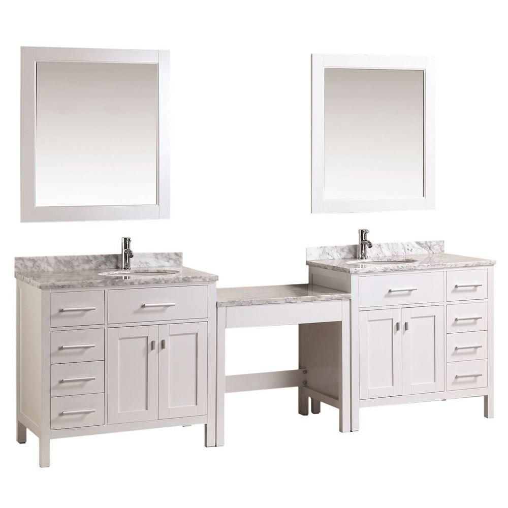 Design Element Two London 36 In W X 22 In D Vanity In White With