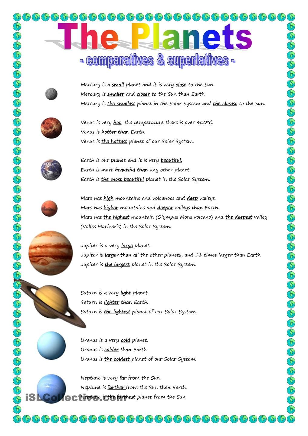 The Planets - comparative \u0026 superlative   Solar system worksheets [ 1440 x 1018 Pixel ]