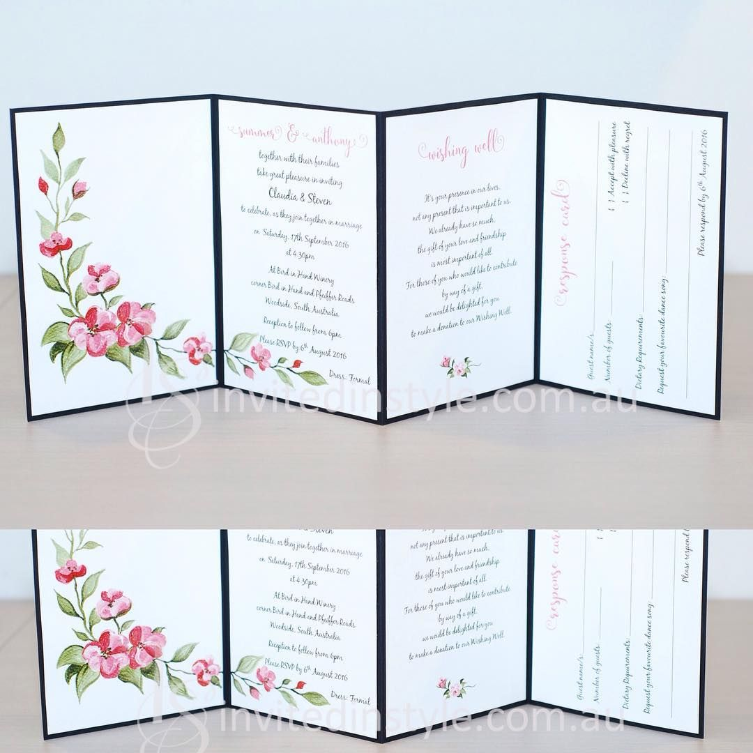 Watercolour flowers on an accordion style invitation. Perforated, removable, postcard style RSVP card. Wishing well details printed inside - EVERYTHING INCLUDED!