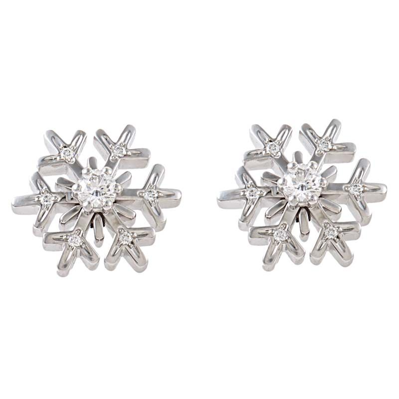Chopard 18k White Gold Diamond Snowflake Stud Earrings