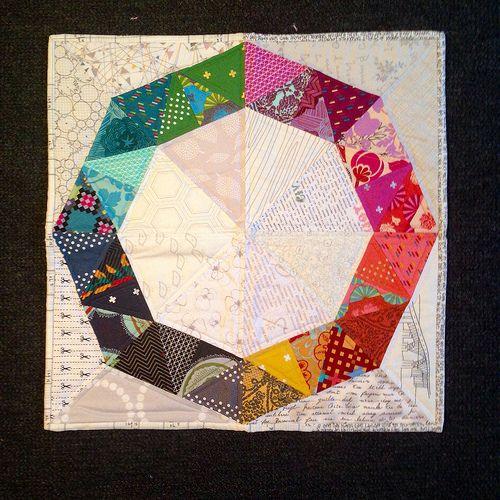 Schnitzel & Boo mini quilt swap!   Flickr - Photo Sharing! Love the Hexie + Low Volume.-hc