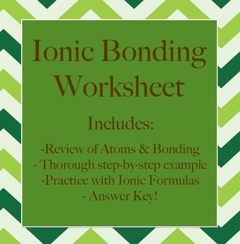 Ionic Bonding \u0026 Review Worksheet & Ionic Bonding \u0026 Review Worksheet | Ionic bond Worksheets and Students