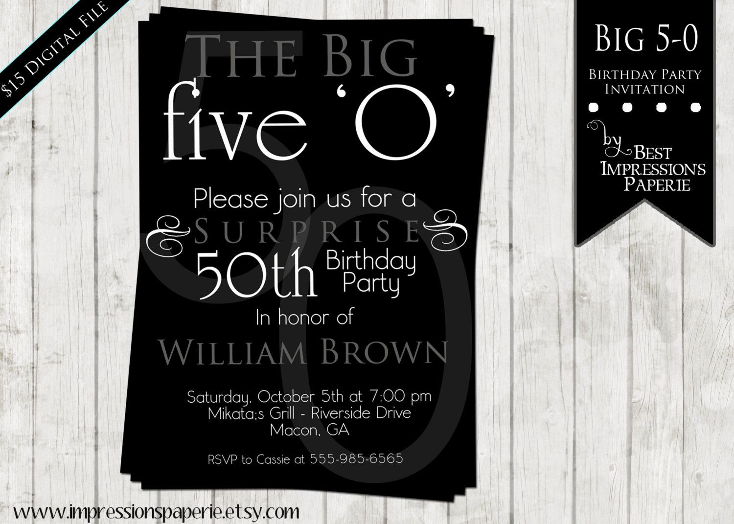 Ideas For 50th Birthday Invitations – Black and White Party Invitation Wording