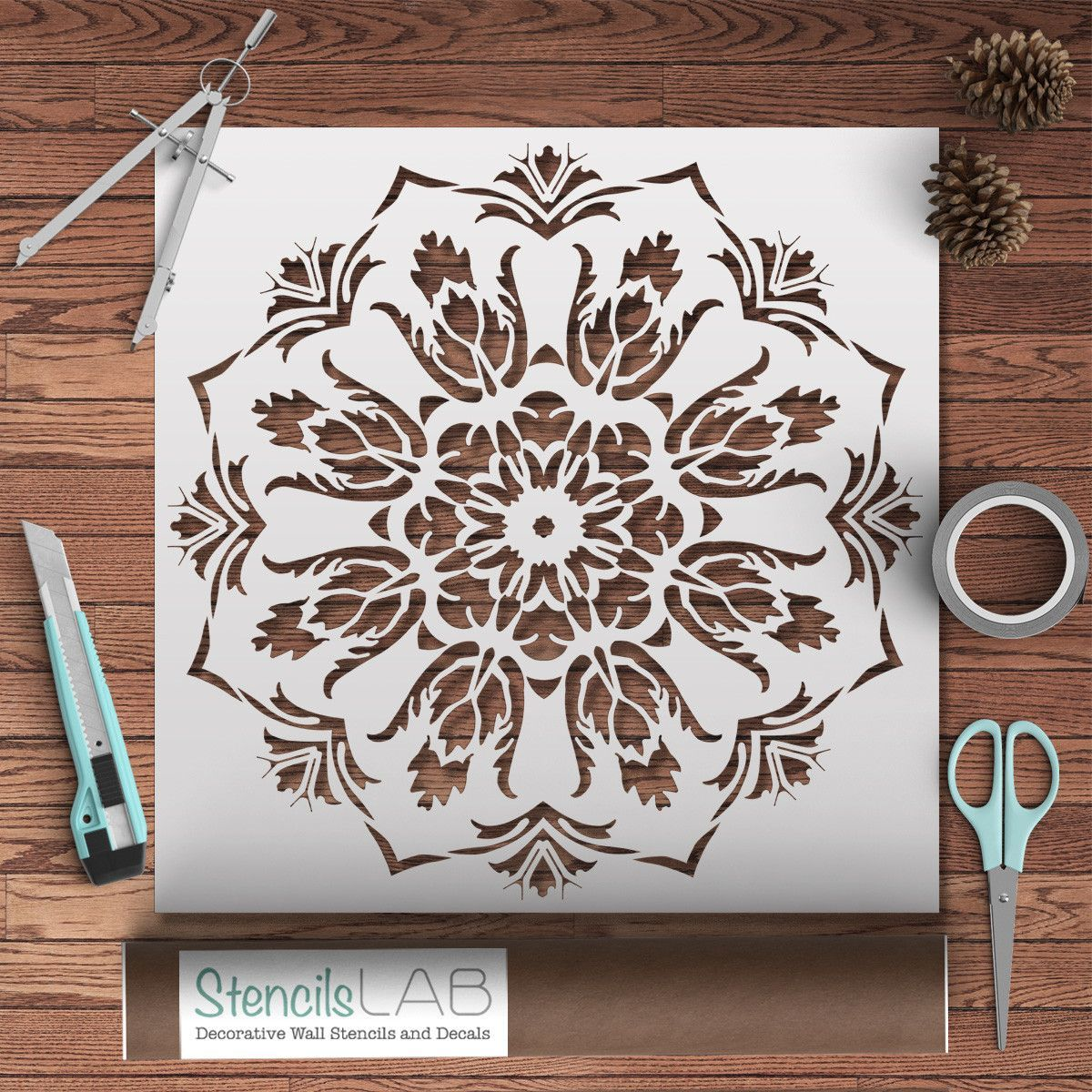 Mandala stencil for painting furniture stencil diy decor imagine how beautiful our mandala stencil for painting will look on your furniture walls amipublicfo Choice Image