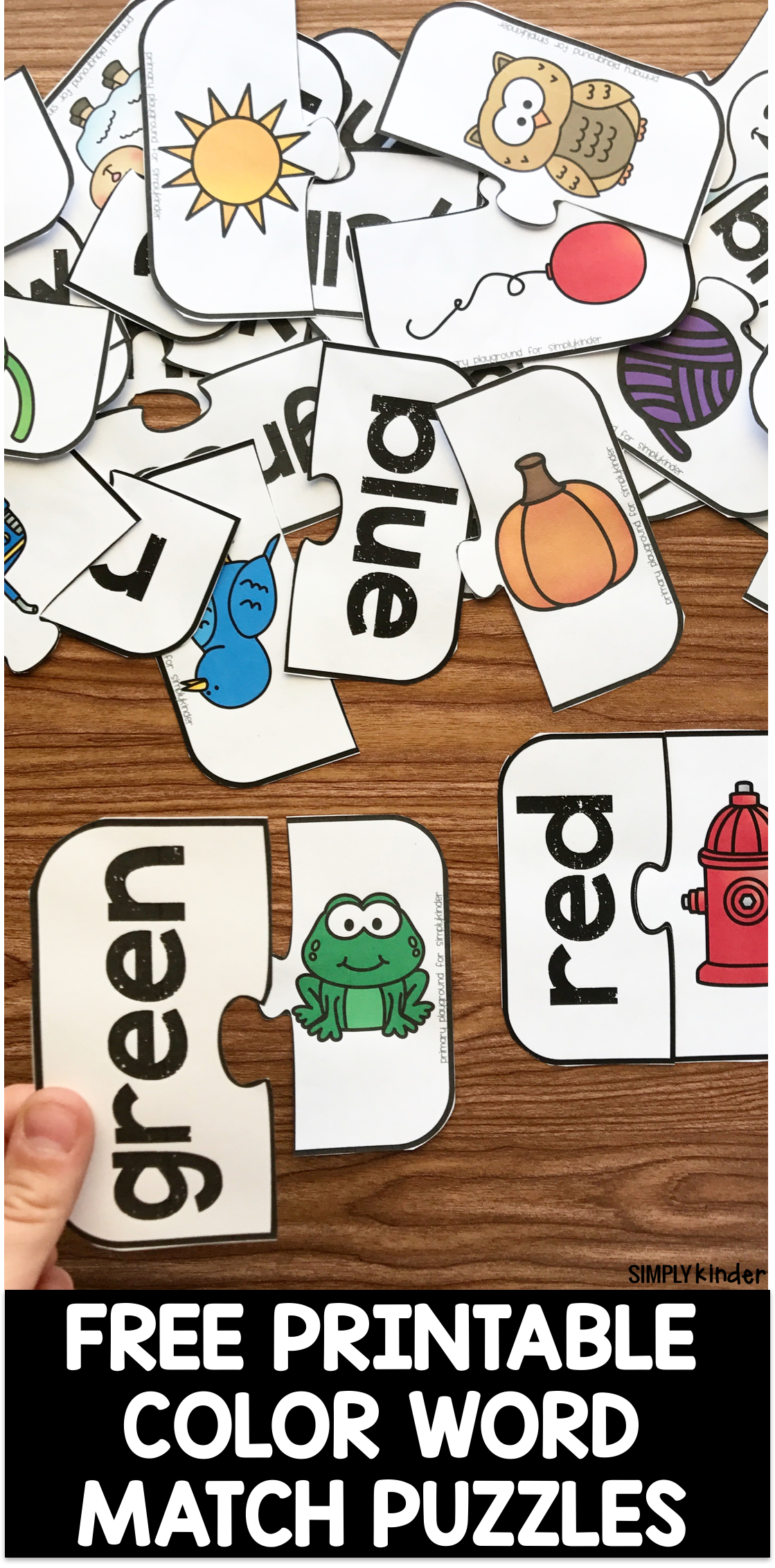 Free Printable Color Word Match Puzzles