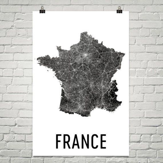 Map Of France Poster.France Map Map Of France French Art French Decor French Print