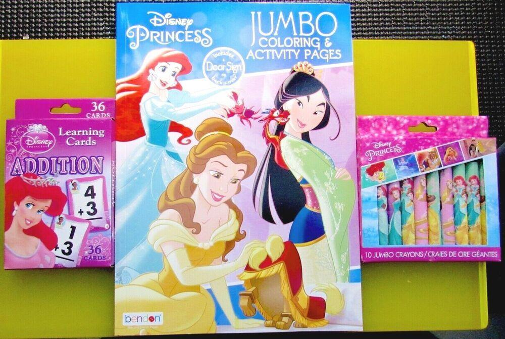 Disney Lot Princess Jumbo Coloring Book Activity Crayons Learning Cards Addition Otkrytki Disnej