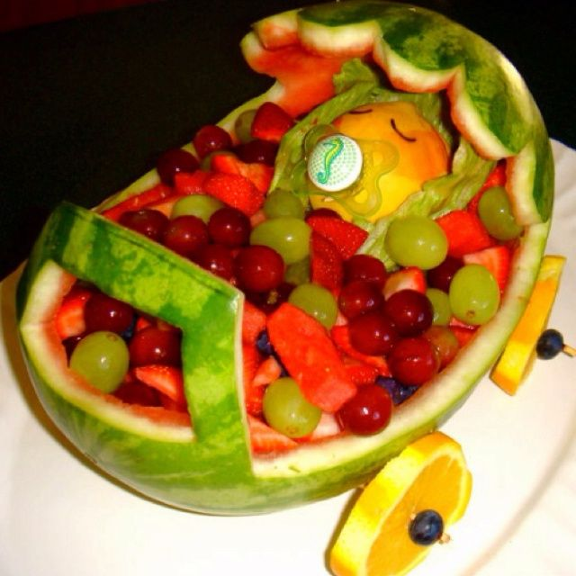 Baby Shower Fruit Bowl Use Grapes For Eyes And Make Ears? I Like The Wheels  And Structure!