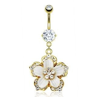 Gold Plated Belly Ring Hawaiian Flower - Crystal - Gemstone - Bling Type - Belly Button Rings