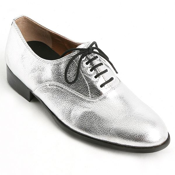 Mens Glitter Silver Lace Up Oxfords