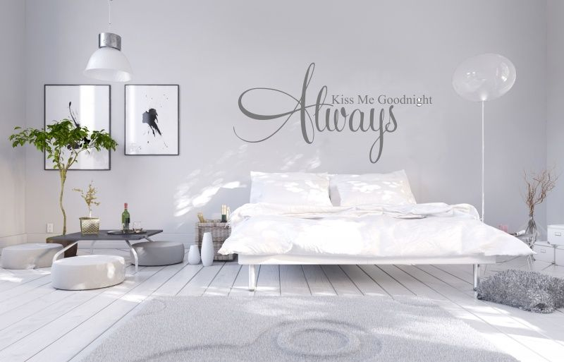 Muursticker Slaapkamer Always kiss me goodnight | Muurstickerboetiek ...