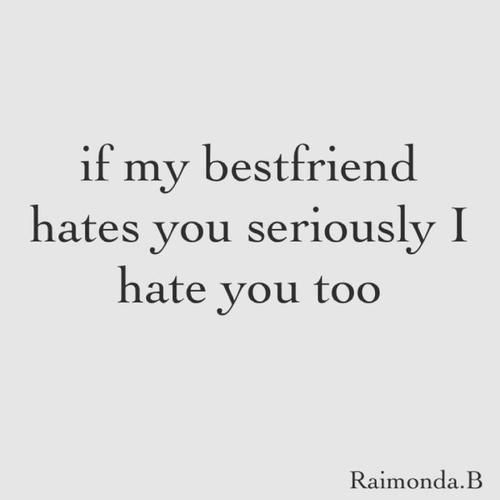 If my bestfriend hates you seriously I hate you too. | Quotes