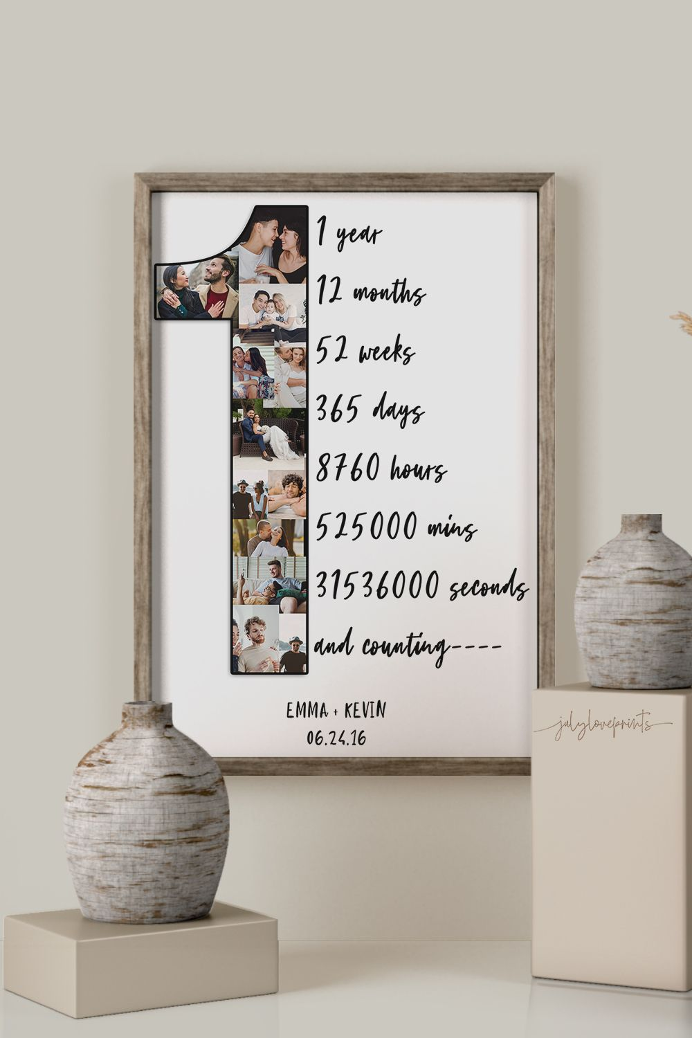 Personalized 1st Anniversary Collage Gift For Your Spouse Or Partner Gift Idea Anniversary Gifts For Husband Boyfriend Anniversary Gifts 1st Anniversary Gifts