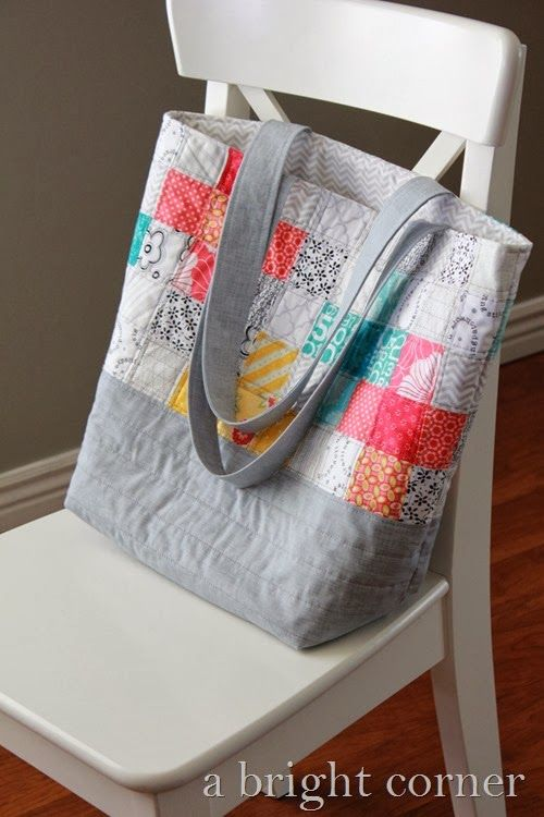 Scrappy Quilted Tote Bag (A Bright Corner) | Quilted tote bags ... : quilt tote bag - Adamdwight.com
