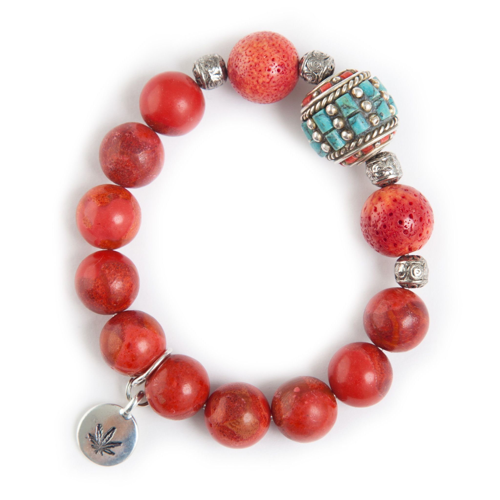 Coral Bead Bracelet with Cylinder Tibetan Bead Accent