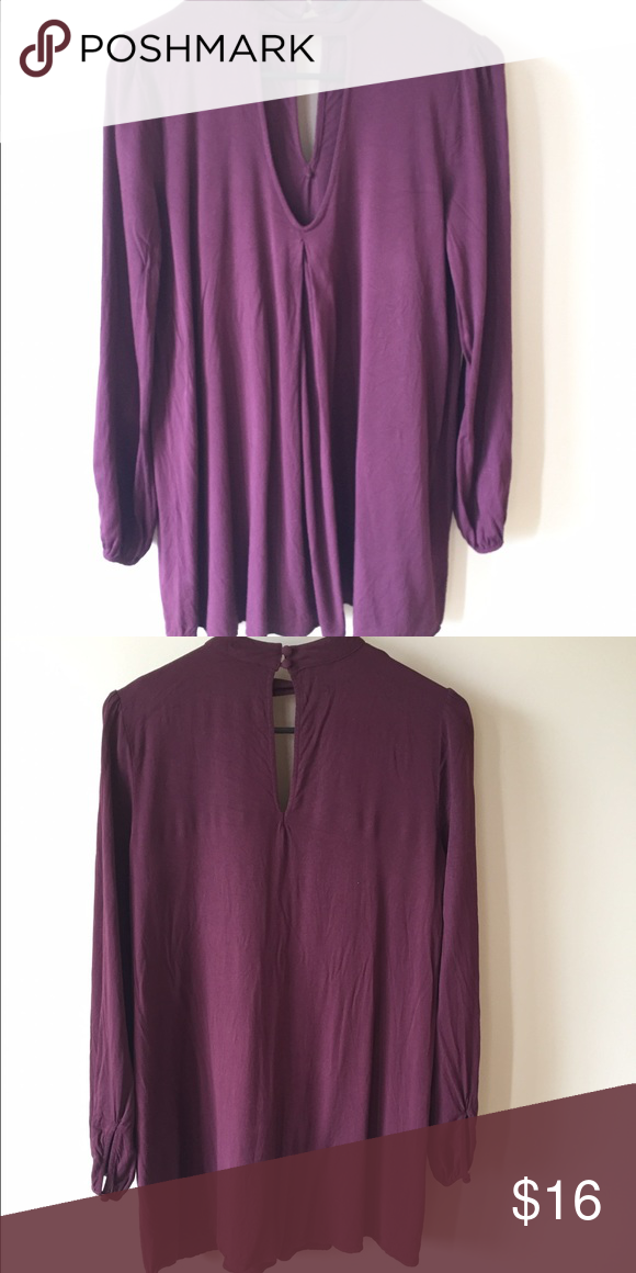 Dress plum dress, VERY short but super cute! looks cute with dark tights/leggings or dark jeans also Forever 21 Dresses Long Sleeve