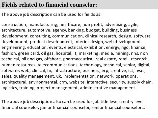 Medical Financial Counselor Resume
