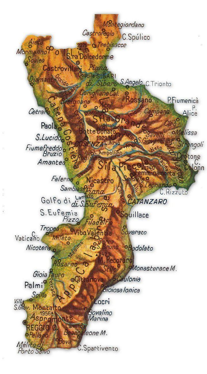 Cartina Geografica Della Calabria Fisica.Cartina Geografica Della Calabria Geografia E Italia