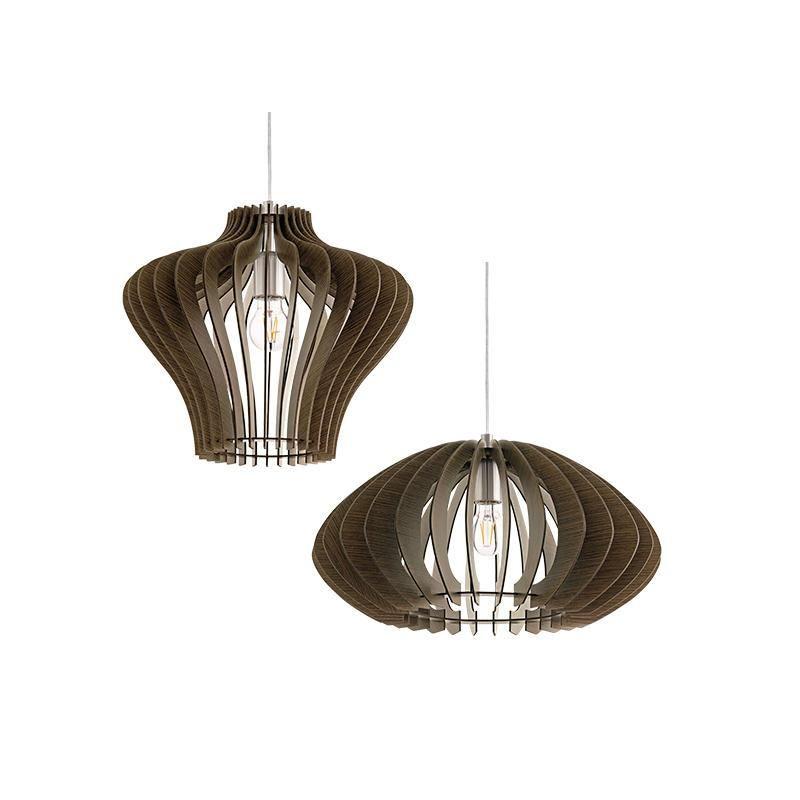 Cossano 2 Pendant Light 380mm 500mm E27 Dark Brown Wood Eglo Lighting The