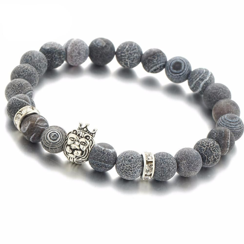 off natural stone silver lion bracelet shipping free