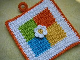 Four Square Crochet Potholder  Pattern – FREE – Häkeln