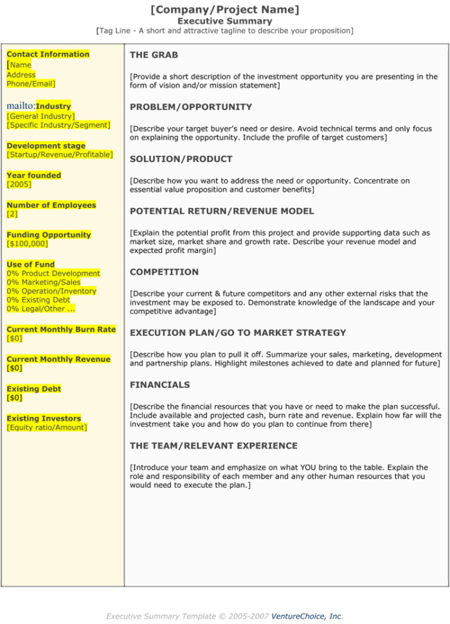 Executive Summary  Executive Summary Templates    Template