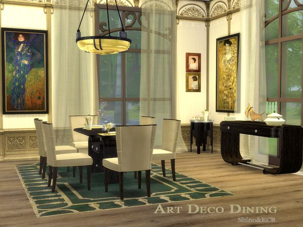 The Dining Set For Art Deco Series Found In TSR Category Sims 4 Room Sets
