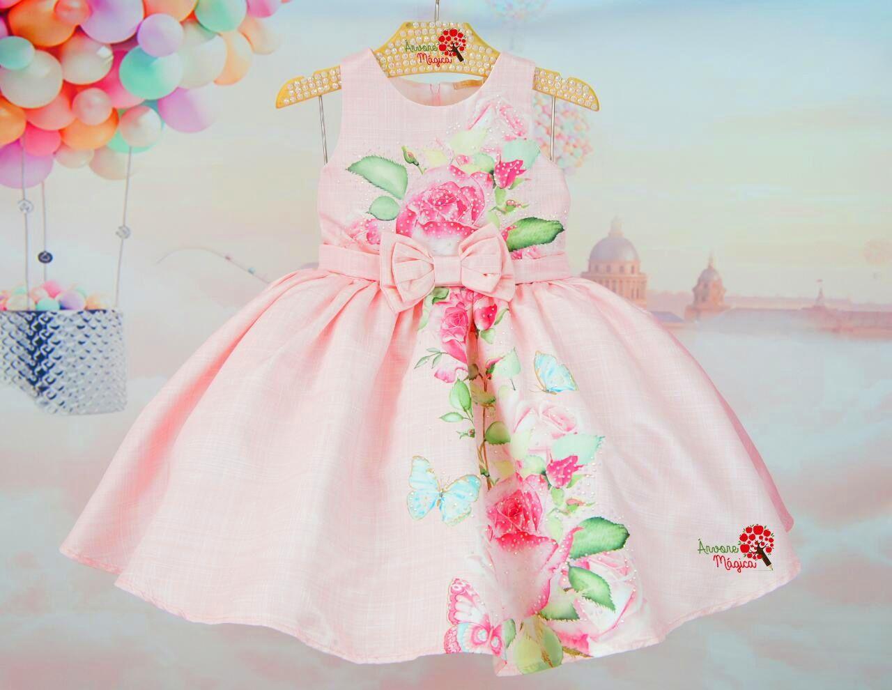 64d921b4e6 Árvore Mágica - Vestido de Festa Infantil Rosas Petit Cherie Vestido Bebê  Festa