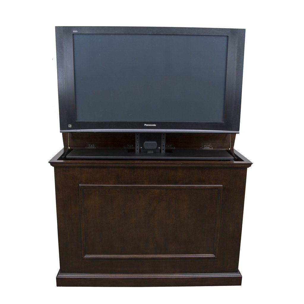 Flatscreen Tv Meubel.Elevate 72008 Espresso Tv Lift Cabinet For 50 Flat Screen Tvs