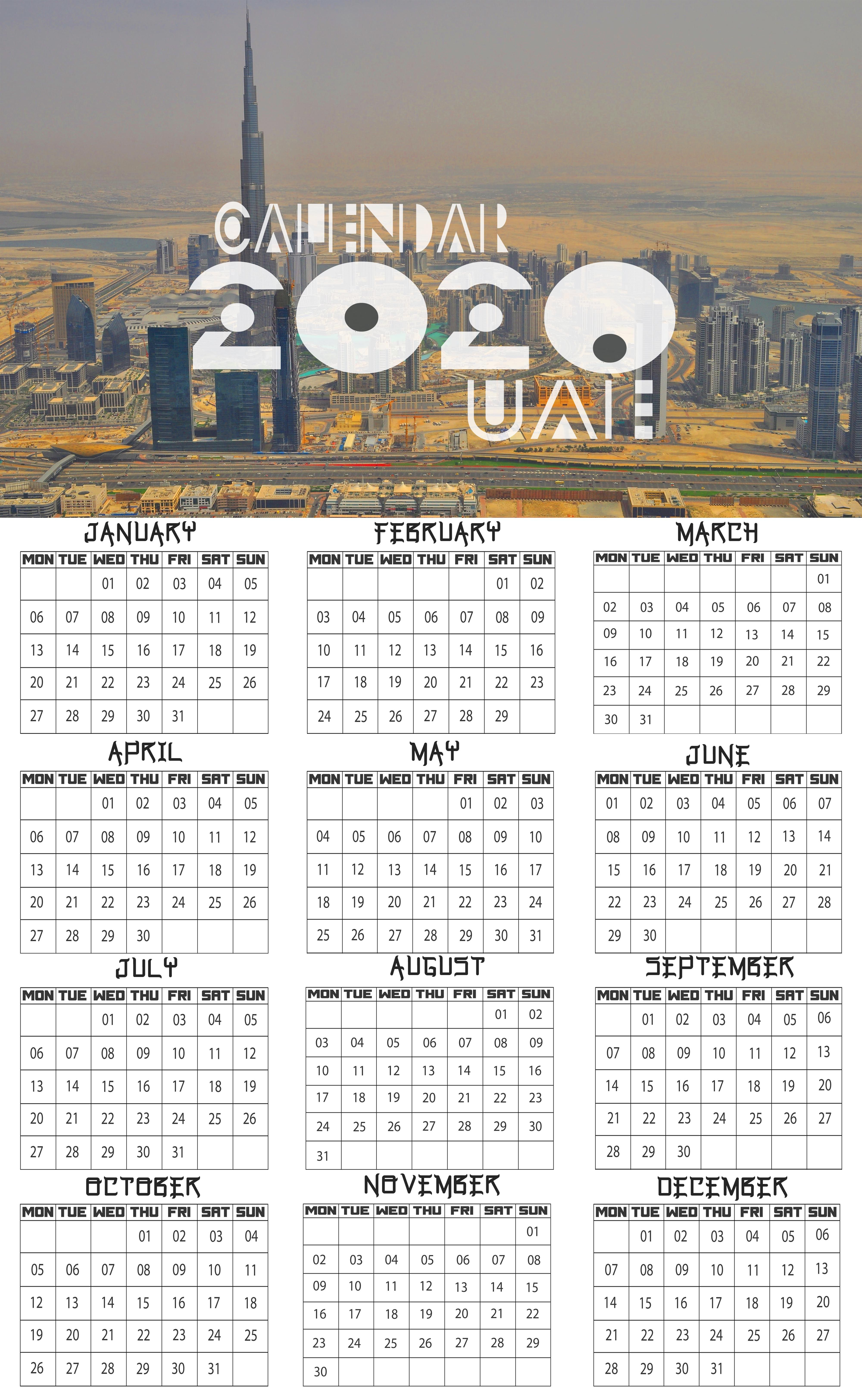 2020 Calendar With Uae Holidays Printable Holiday Printable Templates Holiday Printables Calendar