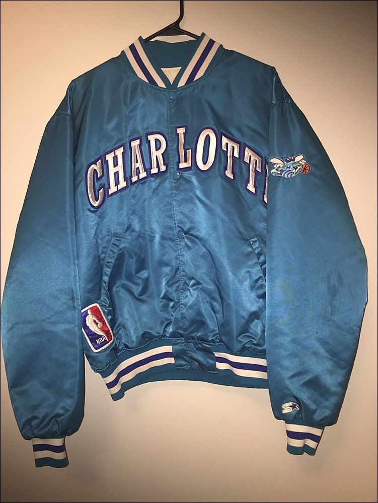 8bda578f0b8 Vintage 80 s NBA Charlotte Hornets Starter Satin Jacket - Size XL by  JourneymanVintage on Etsy