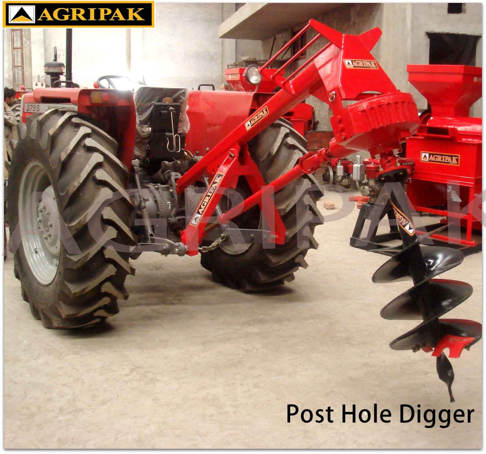 AGRIPAK Post Hole Digger Digger Diameter : 8,10,18 Inches Working Depth: 36  Inches (90cm) Operating Speed: 90cm per 1/2 minute PTO: 540rmp Weight: 170  Kg ...