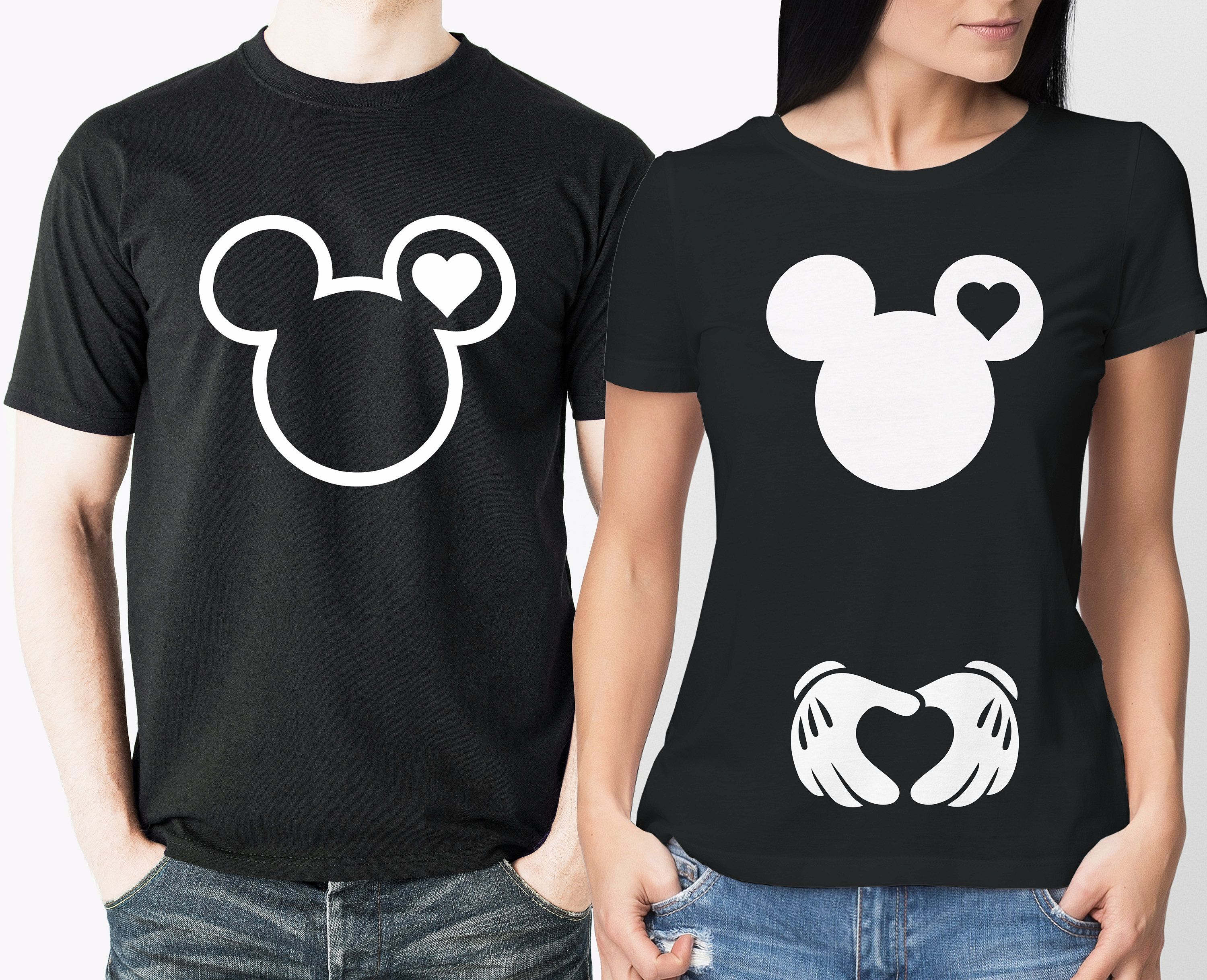 0044c4c542fbb Mickey mouse Pregnancy reveal His and Her matching black T-shirts set by  iganiDesign on Etsy