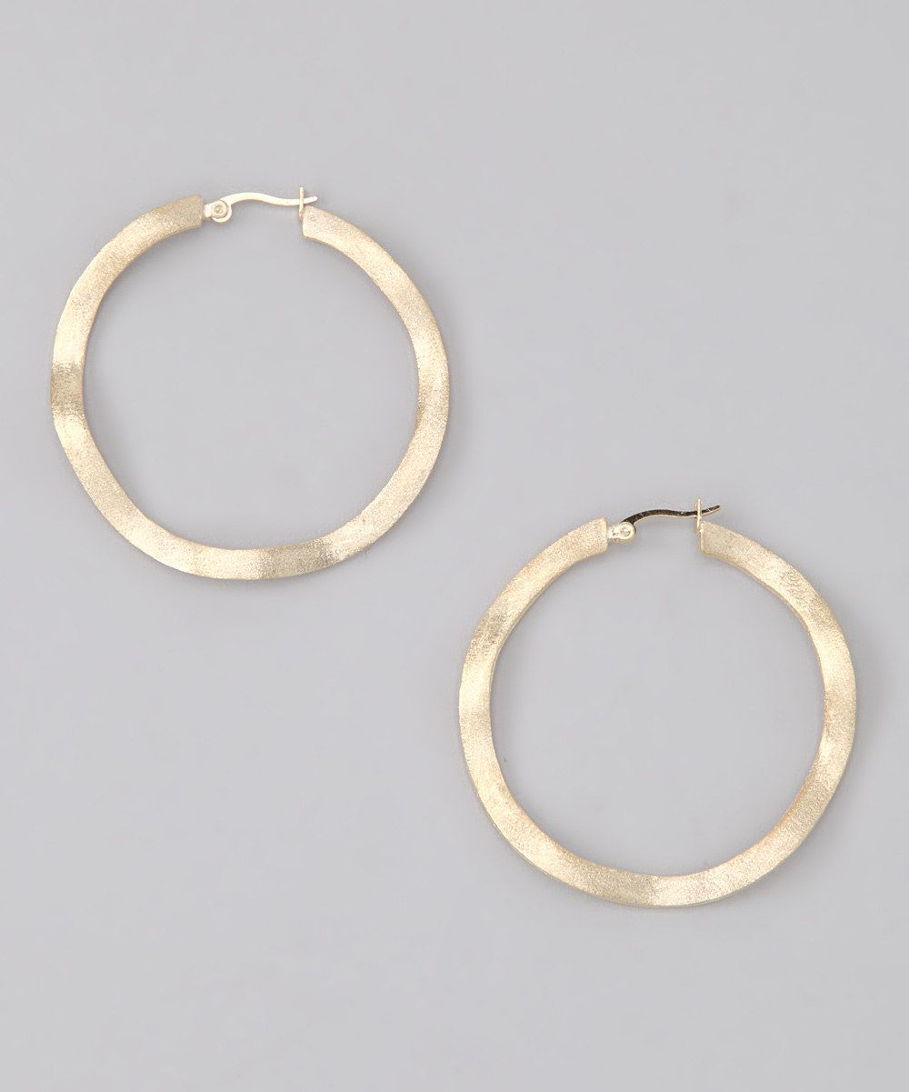 Gold Satin Large Wavy Hoop Earrings