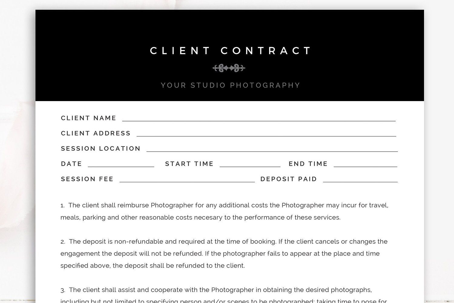 Photography Client Contract Template Client Contracts Contract