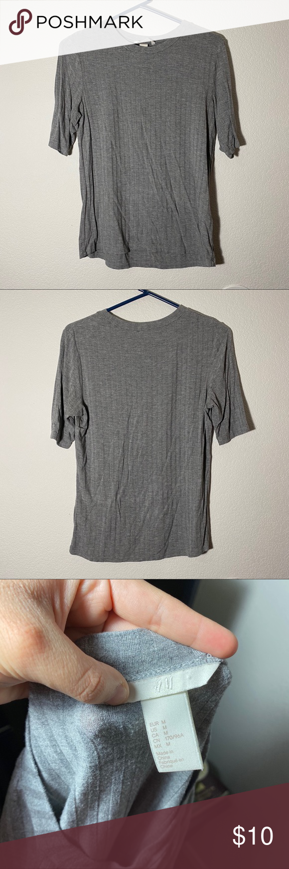 Photo of [ h&m ] gray ribbed top super cute love this top :-) it's very stretchy and co…