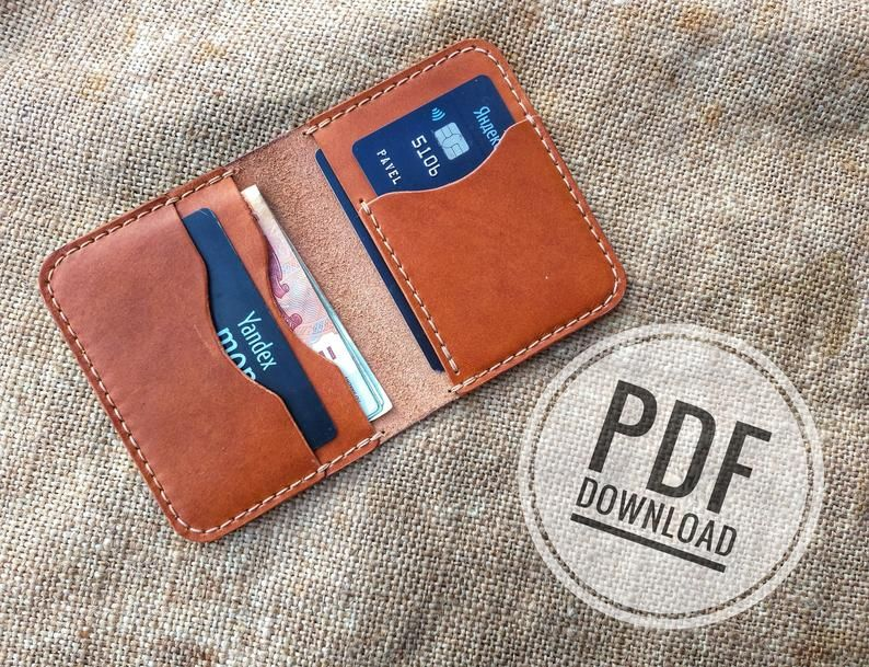 vertical cardholder mini wallet PDF leather wallet template pattern