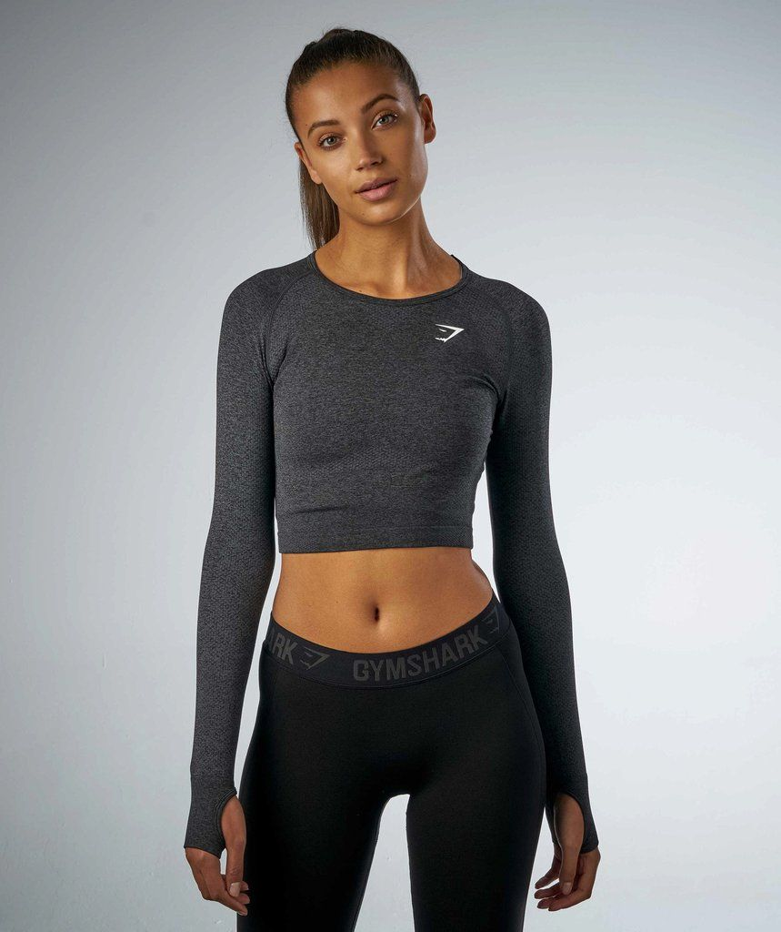 7b2ce2fada637f Gymshark Seamless Long Sleeve Crop Top - Black Marl