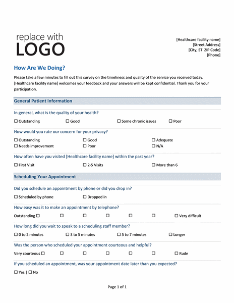 medical practice survey form is used by the patients to