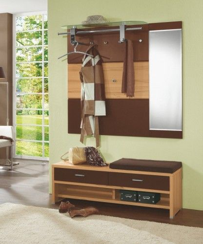 garderobe mit sitzbank kernbuche furniert schokobraun lackiert 66 00015 zollfrei in die schweiz. Black Bedroom Furniture Sets. Home Design Ideas